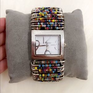 GENEVA STAINLESS STEEL WATCH MULTI COLOR 💐